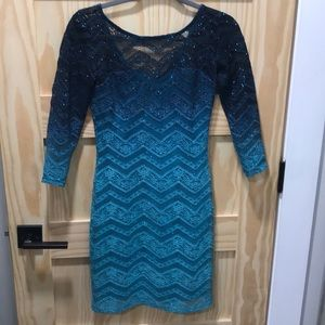 Ombré navy blue to turquoise shimmering dress